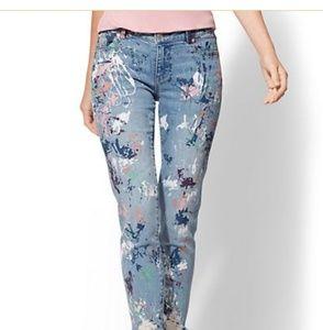 Nwt NY&Company Splatter Boyfriend Cropped Jeans 8
